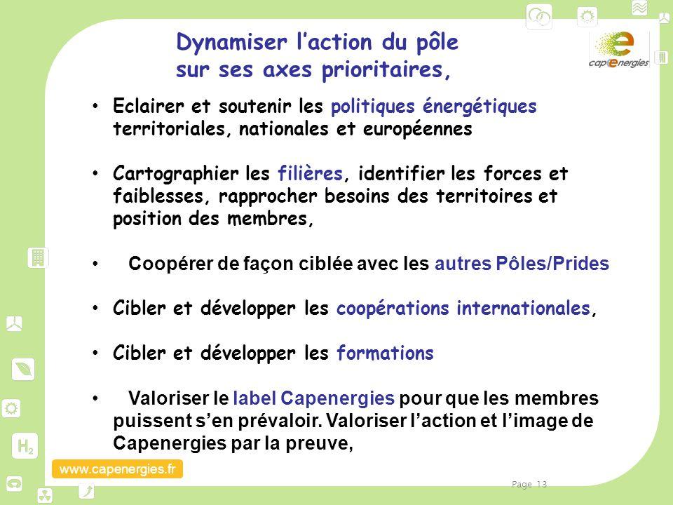 www.capenergies.fr Dynamiser l'action du pôle sur ses axes prioritaires, Eclairer et soutenir les politiques énergétiques territoriales, nationales et