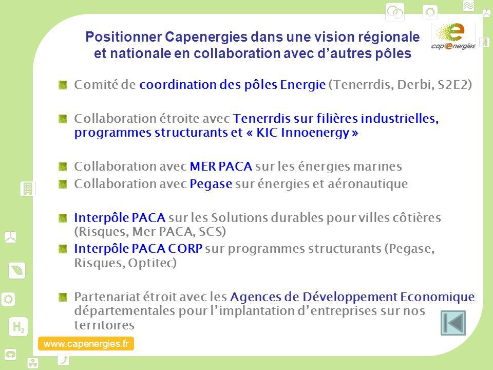 www.capenergies.fr Positionner Capenergies dans une vision régionale et nationale en collaboration avec d'autres pôles Comité de coordination des pôle