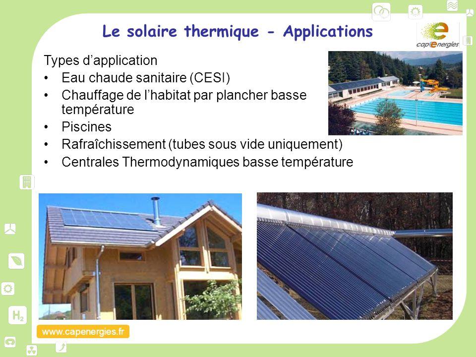 www.capenergies.fr Le solaire thermique - Applications Types d'application Eau chaude sanitaire (CESI) Chauffage de l'habitat par plancher basse tempé