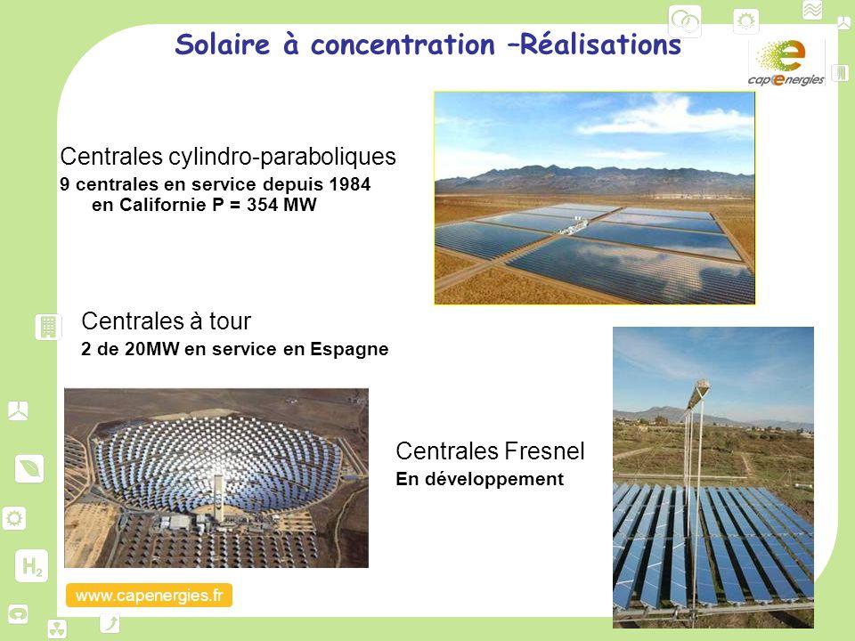 www.capenergies.fr Solaire à concentration –Réalisations Centrales cylindro-paraboliques 9 centrales en service depuis 1984 en Californie P = 354 MW C