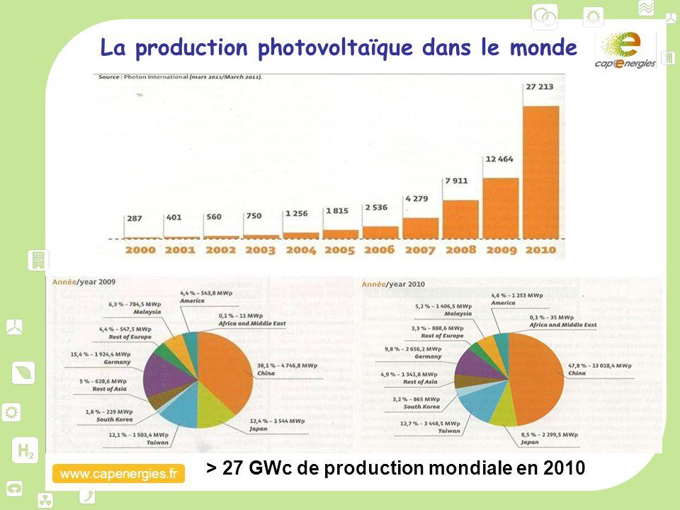 www.capenergies.fr La production photovoltaïque dans le monde > 27 GWc de production mondiale en 2010