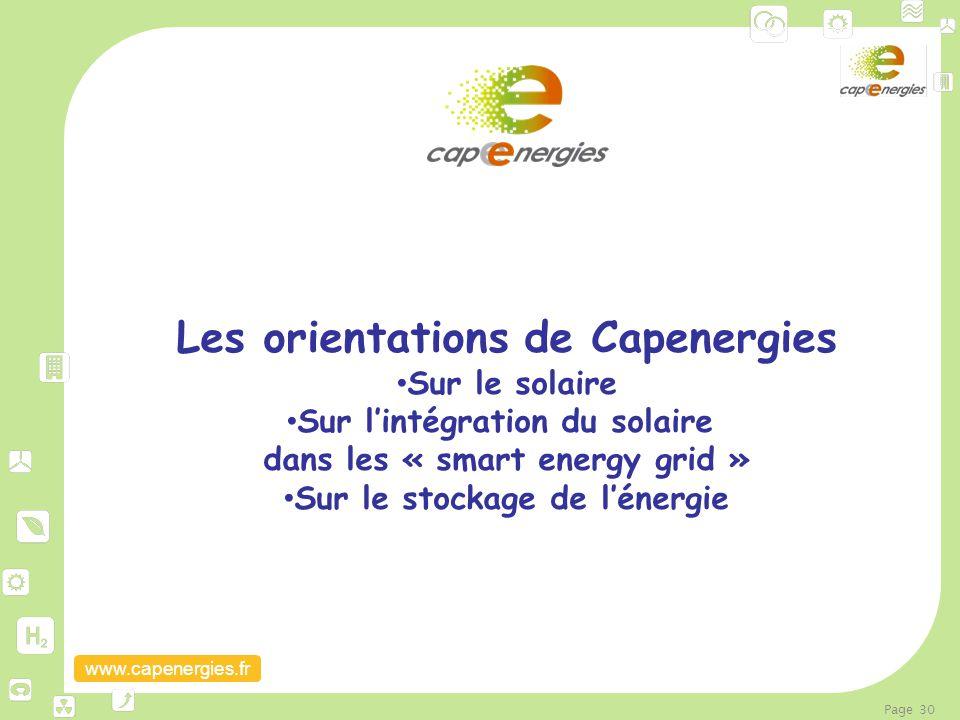 www.capenergies.fr Page 30 Les orientations de Capenergies Sur le solaire Sur l'intégration du solaire dans les « smart energy grid » Sur le stockage