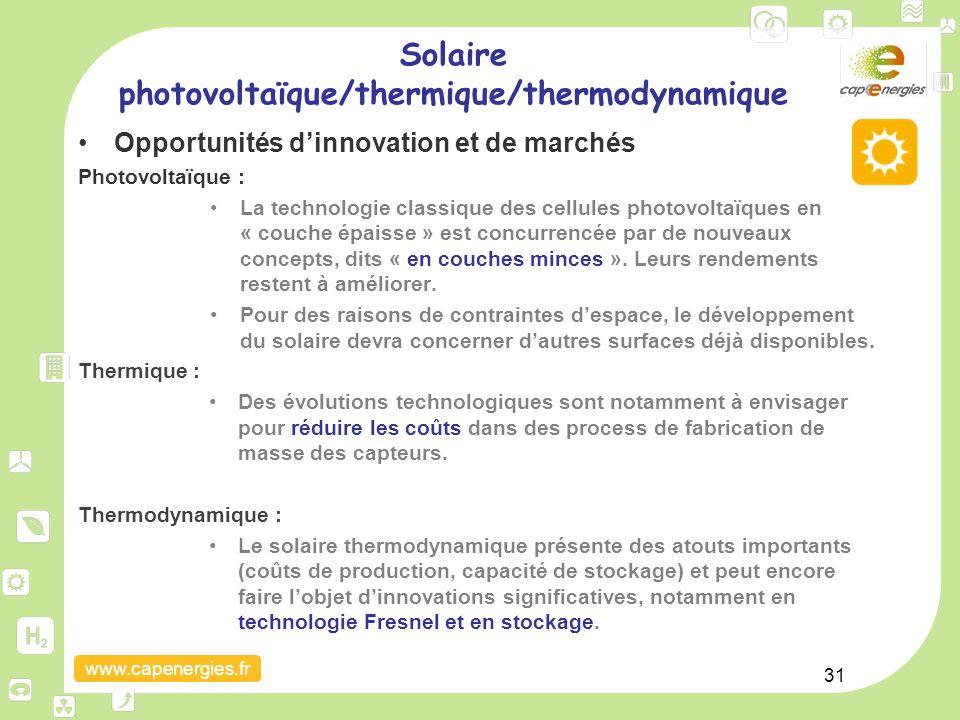 www.capenergies.fr 31 Opportunités d'innovation et de marchés Photovoltaïque : La technologie classique des cellules photovoltaïques en « couche épais