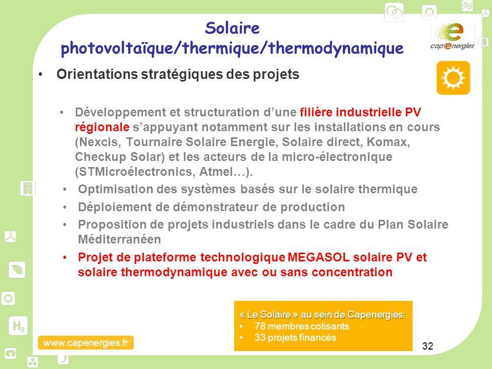 www.capenergies.fr 32 Orientations stratégiques des projets Développement et structuration d'une filière industrielle PV régionale s'appuyant notammen