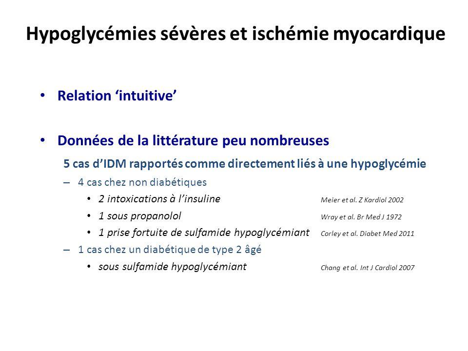 Relation 'intuitive' Données de la littérature peu nombreuses 5 cas d'IDM rapportés comme directement liés à une hypoglycémie – 4 cas chez non diabéti