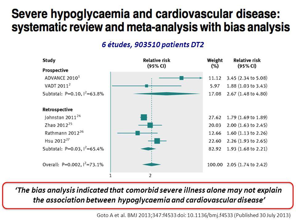 Goto A et al. BMJ 2013;347:f4533 doi: 10.1136/bmj.f4533 (Published 30 July 2013) 6 études, 903510 patients DT2 'The bias analysis indicated that comor