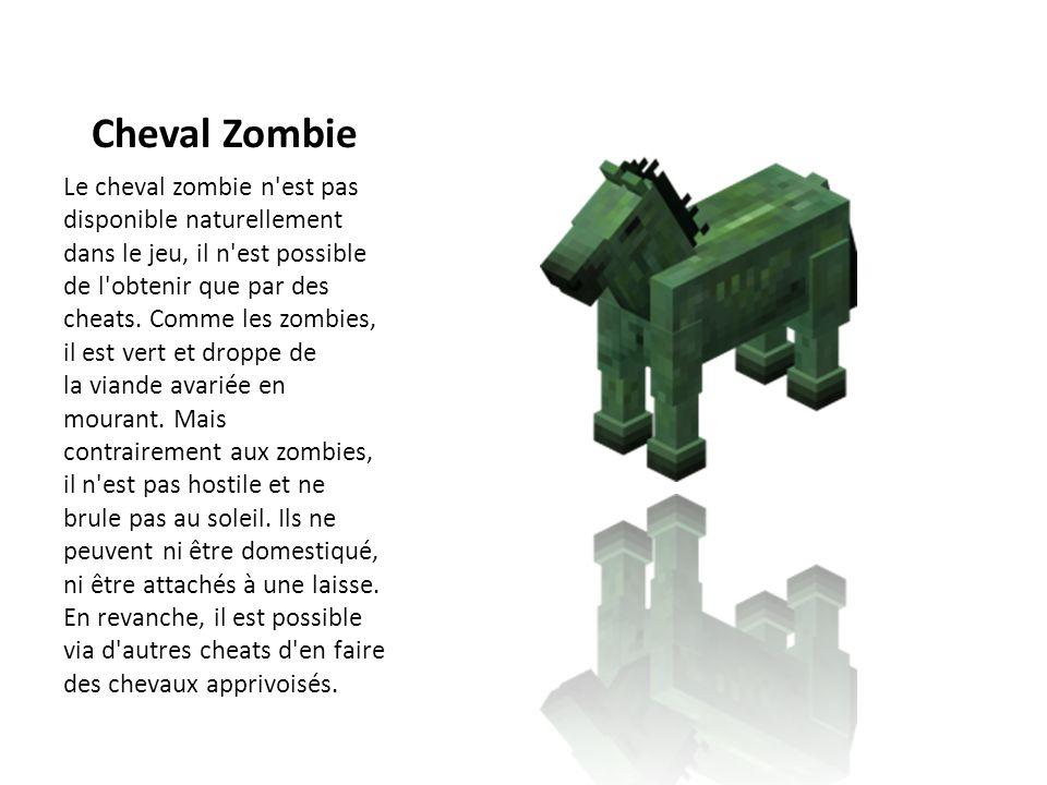 Cheval Zombie Le cheval zombie n'est pas disponible naturellement dans le jeu, il n'est possible de l'obtenir que par des cheats. Comme les zombies, i