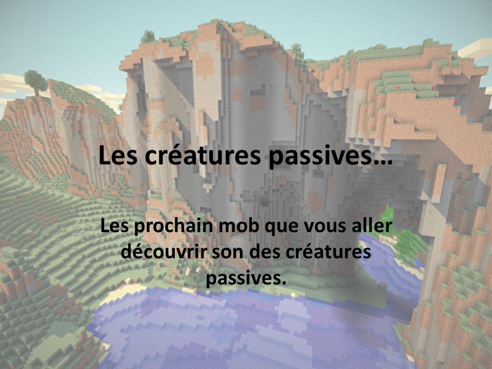 Les créatures passives… Les prochain mob que vous aller découvrir son des créatures passives.