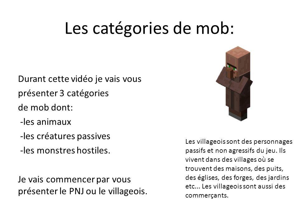 Les catégories de mob: Durant cette vidéo je vais vous présenter 3 catégories de mob dont: -les animaux -les créatures passives -les monstres hostiles