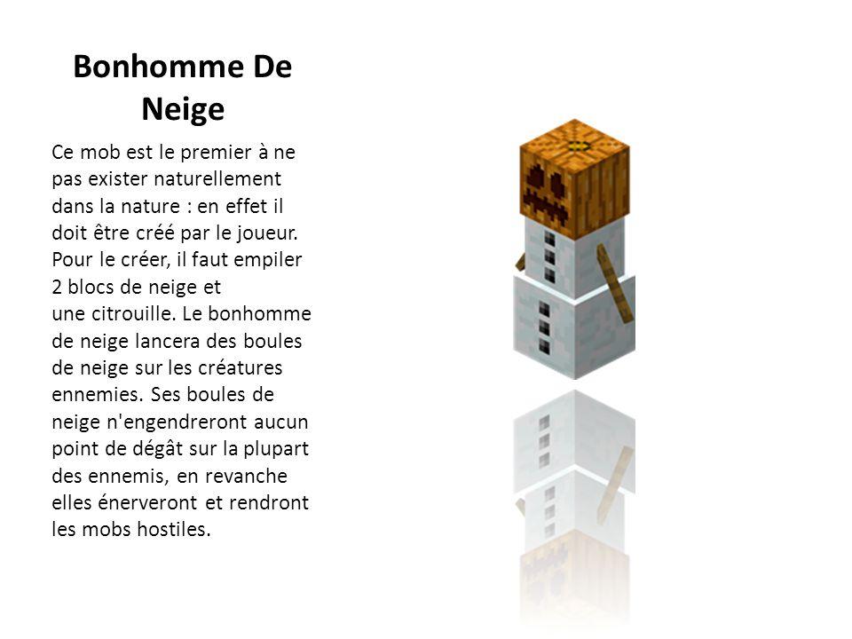 Bonhomme De Neige Ce mob est le premier à ne pas exister naturellement dans la nature : en effet il doit être créé par le joueur. Pour le créer, il fa