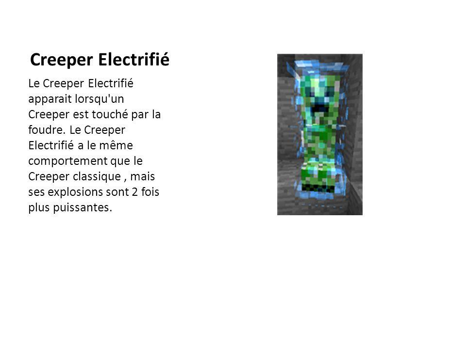 Creeper Electrifié Le Creeper Electrifié apparait lorsqu'un Creeper est touché par la foudre. Le Creeper Electrifié a le même comportement que le Cree