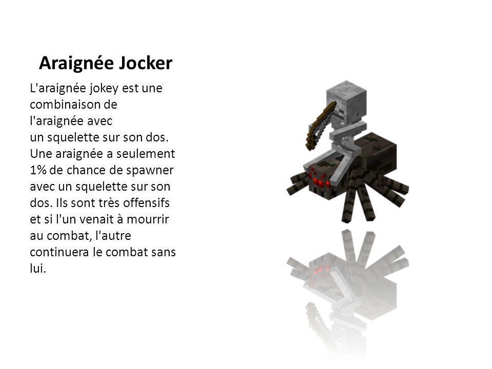Araignée Jocker L'araignée jokey est une combinaison de l'araignée avec un squelette sur son dos. Une araignée a seulement 1% de chance de spawner ave
