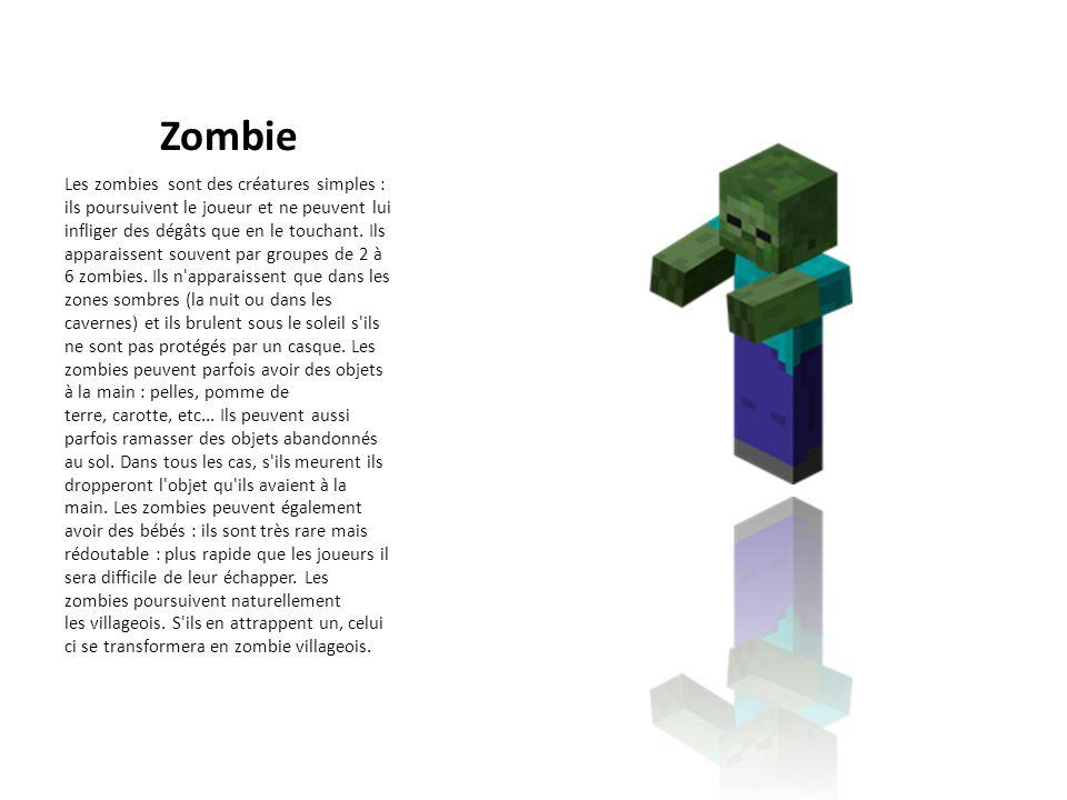 Zombie Les zombies sont des créatures simples : ils poursuivent le joueur et ne peuvent lui infliger des dégâts que en le touchant. Ils apparaissent s