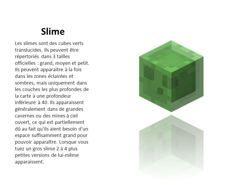 Slime Les slimes sont des cubes verts translucides. Ils peuvent être répertoriés dans 3 tailles officielles : grand, moyen et petit. Ils peuvent appar