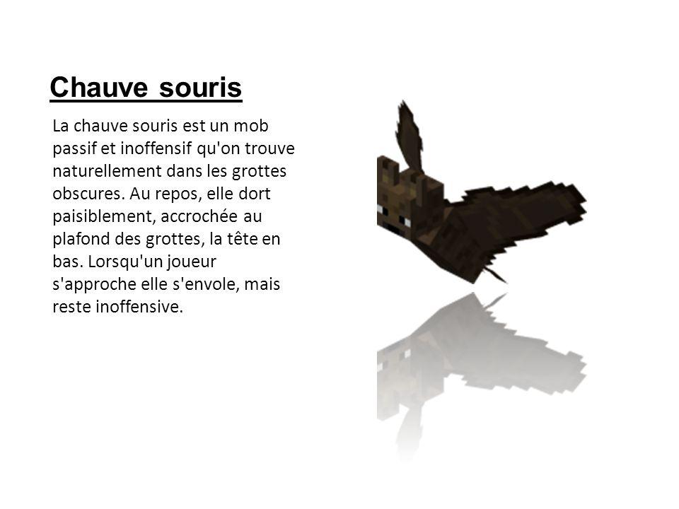 Chauve souris La chauve souris est un mob passif et inoffensif qu'on trouve naturellement dans les grottes obscures. Au repos, elle dort paisiblement,