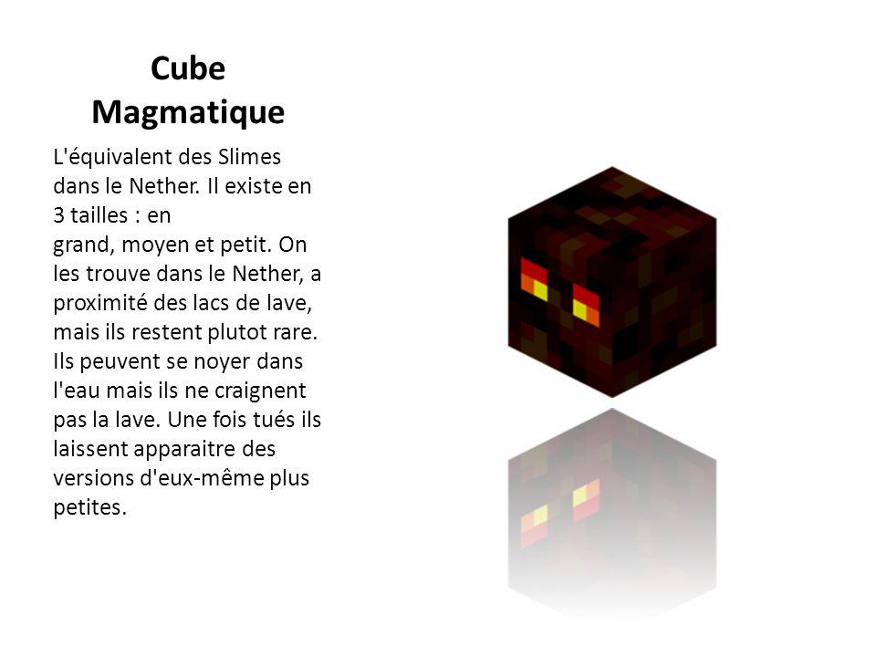 Cube Magmatique L'équivalent des Slimes dans le Nether. Il existe en 3 tailles : en grand, moyen et petit. On les trouve dans le Nether, a proximité d