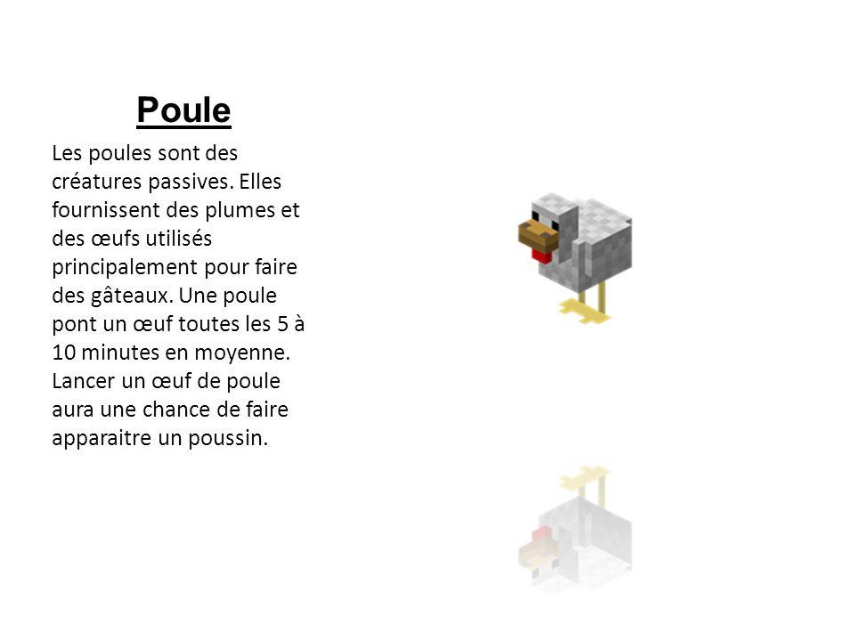 Poule Les poules sont des créatures passives. Elles fournissent des plumes et des œufs utilisés principalement pour faire des gâteaux. Une poule pont