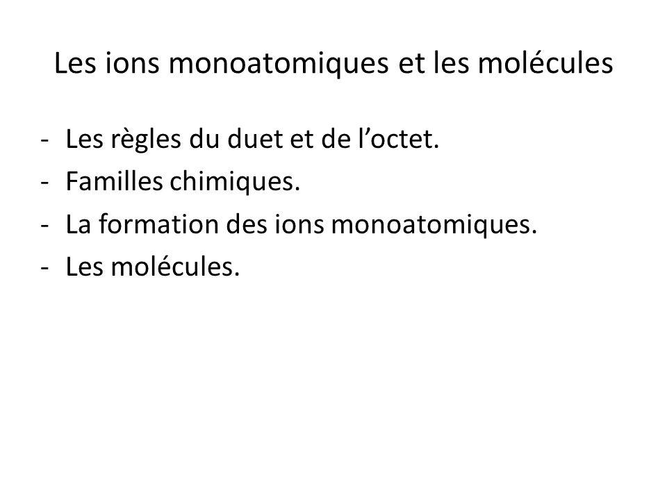 Les ions monoatomiques et les molécules -Les règles du duet et de l'octet. -Familles chimiques. -La formation des ions monoatomiques. -Les molécules.