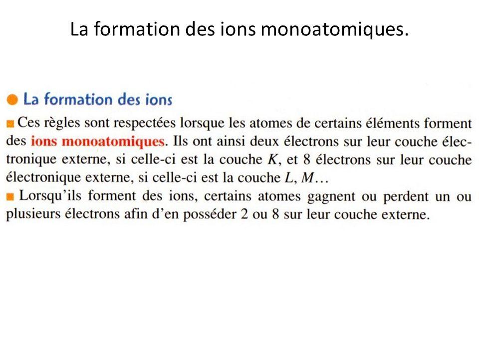 La formation des ions monoatomiques.