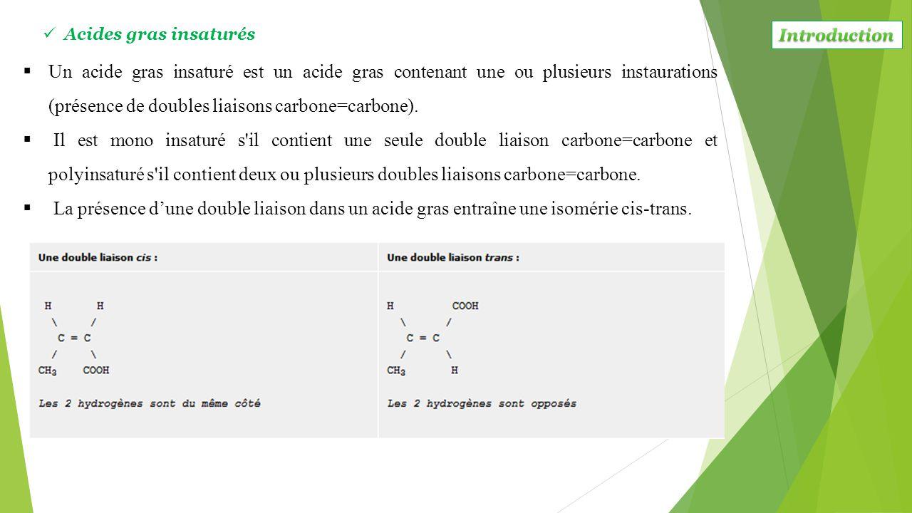  Un acide gras insaturé est un acide gras contenant une ou plusieurs instaurations (présence de doubles liaisons carbone=carbone).  Il est mono insa