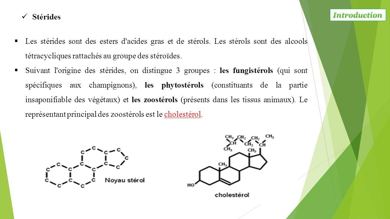  Les stérides sont des esters d'acides gras et de stérols. Les stérols sont des alcools tétracycliques rattachés au groupe des stéroïdes.  Suivant l