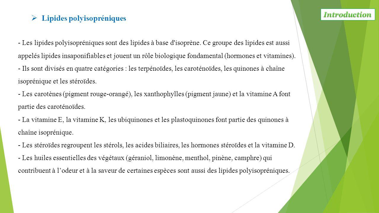 - Les lipides polyisopréniques sont des lipides à base d'isoprène. Ce groupe des lipides est aussi appelés lipides insaponifiables et jouent un rôle b