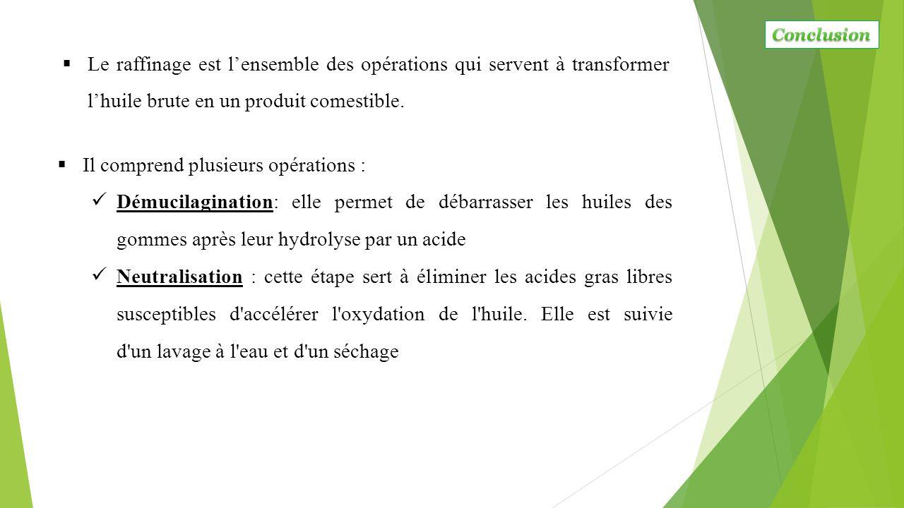  Le raffinage est l'ensemble des opérations qui servent à transformer l'huile brute en un produit comestible.  Il comprend plusieurs opérations : Dé