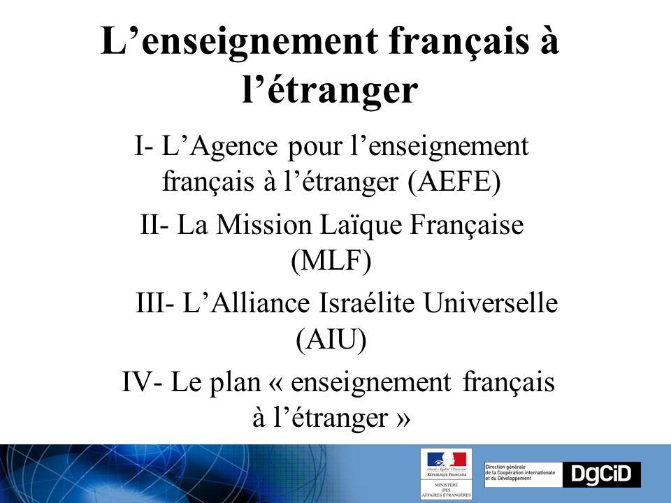 L'enseignement français à l'étranger I- L'Agence pour l'enseignement français à l'étranger (AEFE) II- La Mission Laïque Française (MLF) III- L'Alliance Israélite Universelle (AIU) IV- Le plan « enseignement français à l'étranger »