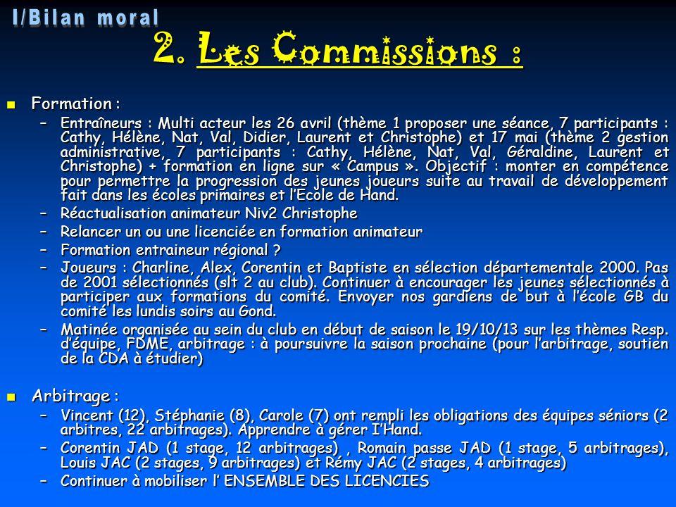 2. Les Commissions : Formation : Formation : –Entraîneurs : Multi acteur les 26 avril (thème 1 proposer une séance, 7 participants : Cathy, Hélène, Na