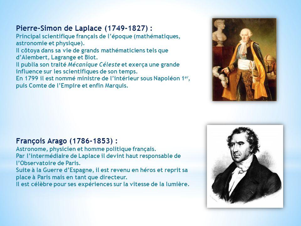 Pierre-Simon de Laplace (1749-1827) : Principal scientifique français de l'époque (mathématiques, astronomie et physique).