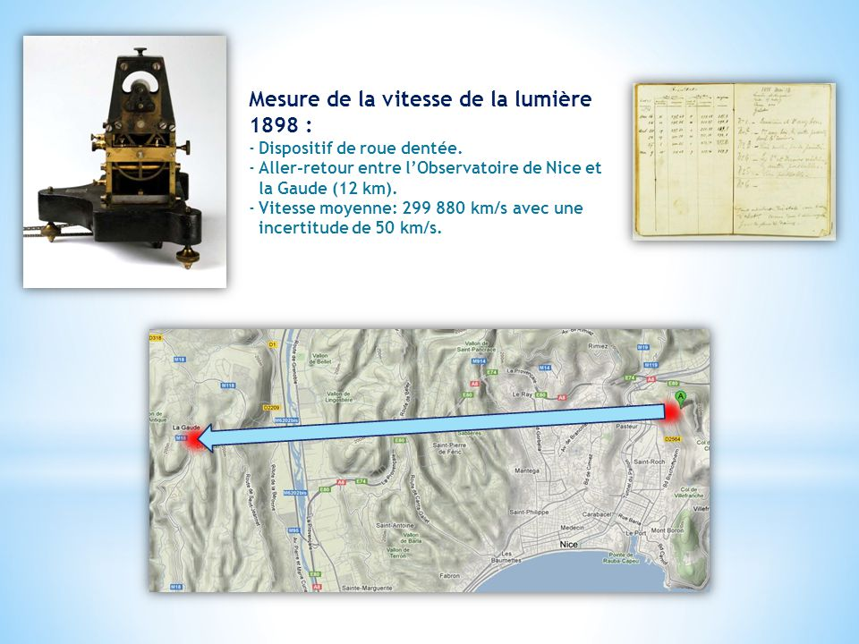 Mesure de la vitesse de la lumière 1898 : ‐Dispositif de roue dentée.