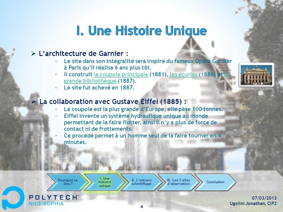 07/03/2013 Ugolini Jonathan, CiP2 4  L'architecture de Garnier : ‐Le site dans son intégralité sera inspiré du fameux Opéra Garnier à Paris qu'il réalisa 6 ans plus tôt.