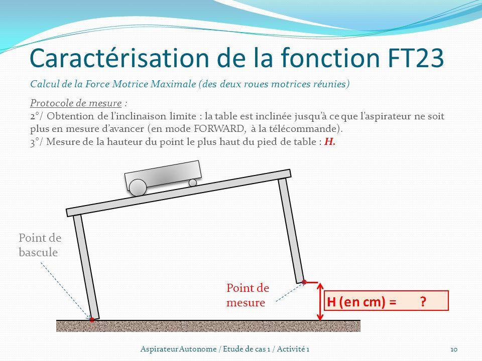 Aspirateur Autonome / Etude de cas 1 / Activité 1 Caractérisation de la fonction FT23 Calcul de la Force Motrice Maximale (des deux roues motrices réu