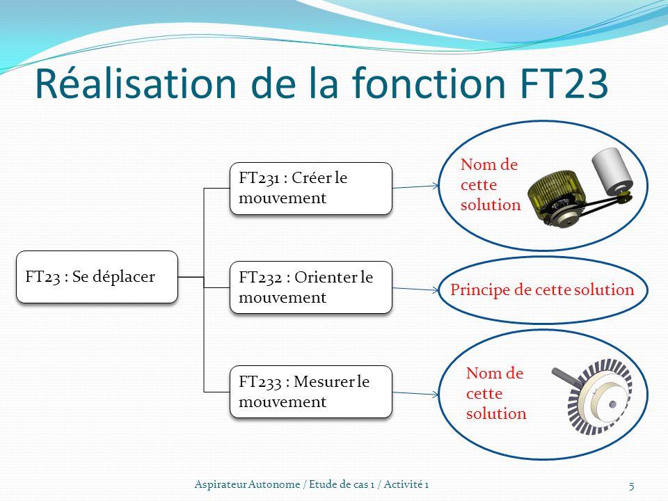 Réalisation de la fonction FT23 Aspirateur Autonome / Etude de cas 1 / Activité 1 FT23 : Se déplacer FT231 : Créer le mouvement FT232 : Orienter le mo
