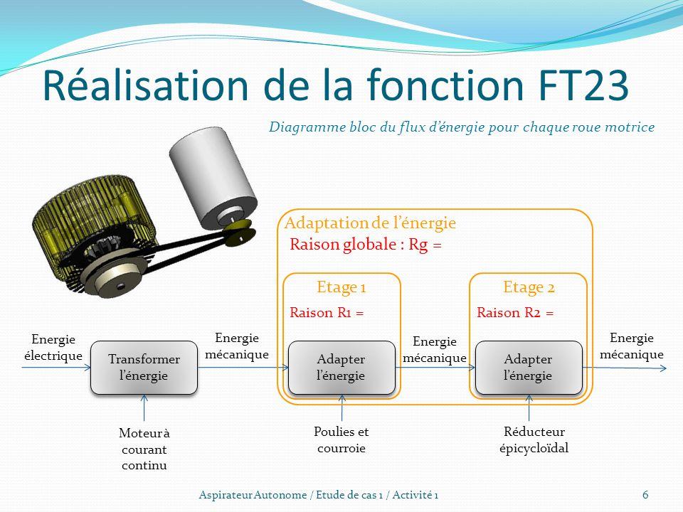Aspirateur Autonome / Etude de cas 1 / Activité 1 Réalisation de la fonction FT23 Transformer l'énergie Adapter l'énergie Diagramme bloc du flux d'éne
