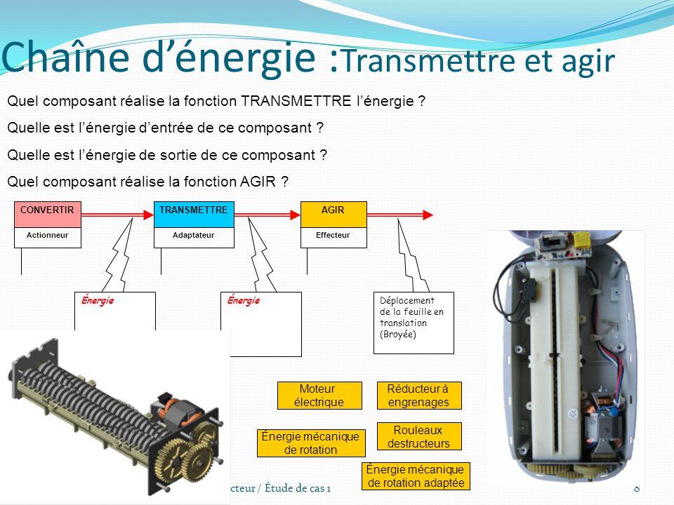 Destructeur / Étude de cas 18 Chaîne d'énergie : Transmettre et agir Quel composant réalise la fonction TRANSMETTRE l'énergie ? Quelle est l'énergie d