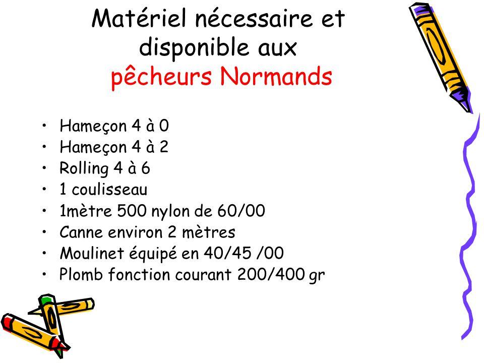 Matériel nécessaire et disponible aux pêcheurs Normands Hameçon 4 à 0 Hameçon 4 à 2 Rolling 4 à 6 1 coulisseau 1mètre 500 nylon de 60/00 Canne environ 2 mètres Moulinet équipé en 40/45 /00 Plomb fonction courant 200/400 gr