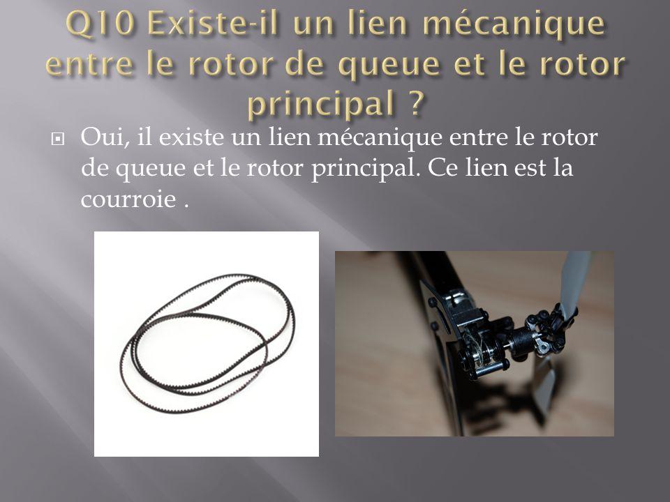  Oui, il existe un lien mécanique entre le rotor de queue et le rotor principal. Ce lien est la courroie.