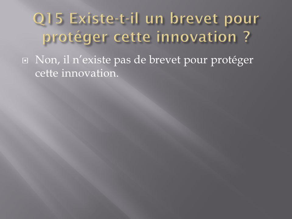  Non, il n'existe pas de brevet pour protéger cette innovation.