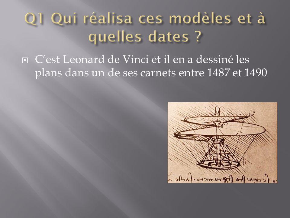  C'est Leonard de Vinci et il en a dessiné les plans dans un de ses carnets entre 1487 et 1490