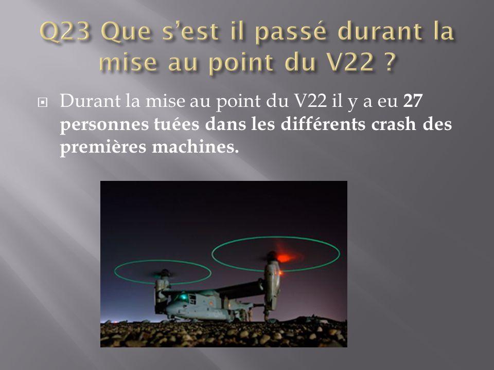  Durant la mise au point du V22 il y a eu 27 personnes tuées dans les différents crash des premières machines.
