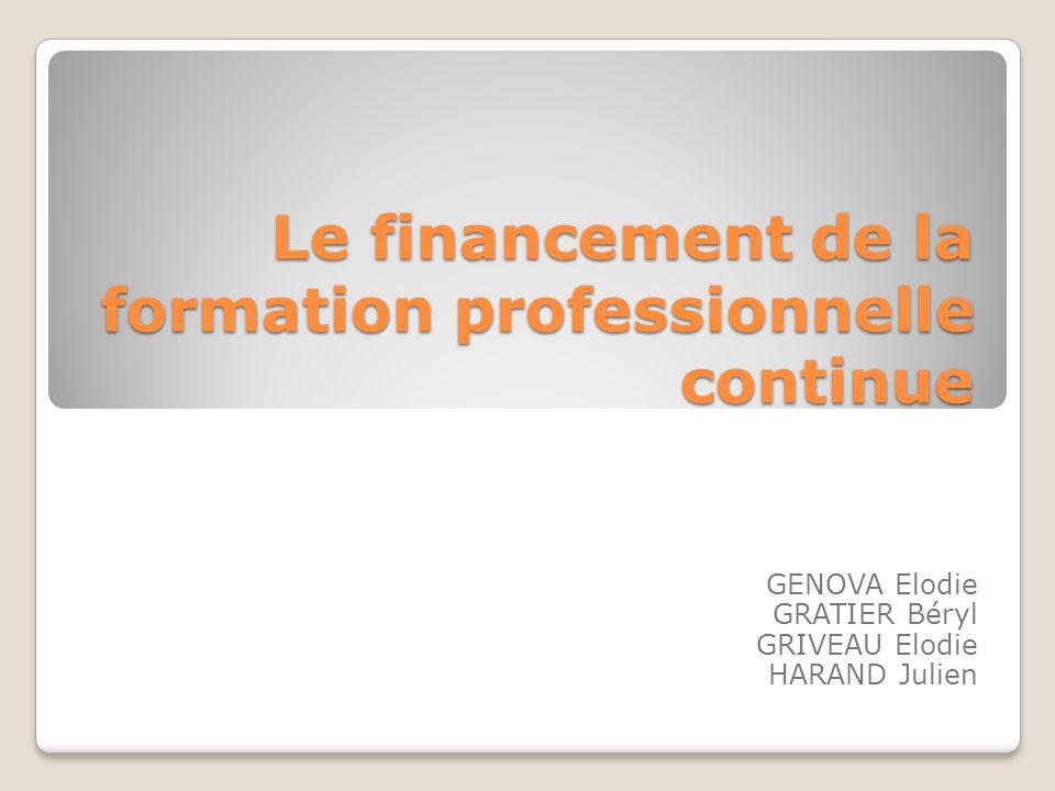 Le financement de la formation professionnelle continue GENOVA Elodie GRATIER Béryl GRIVEAU Elodie HARAND Julien
