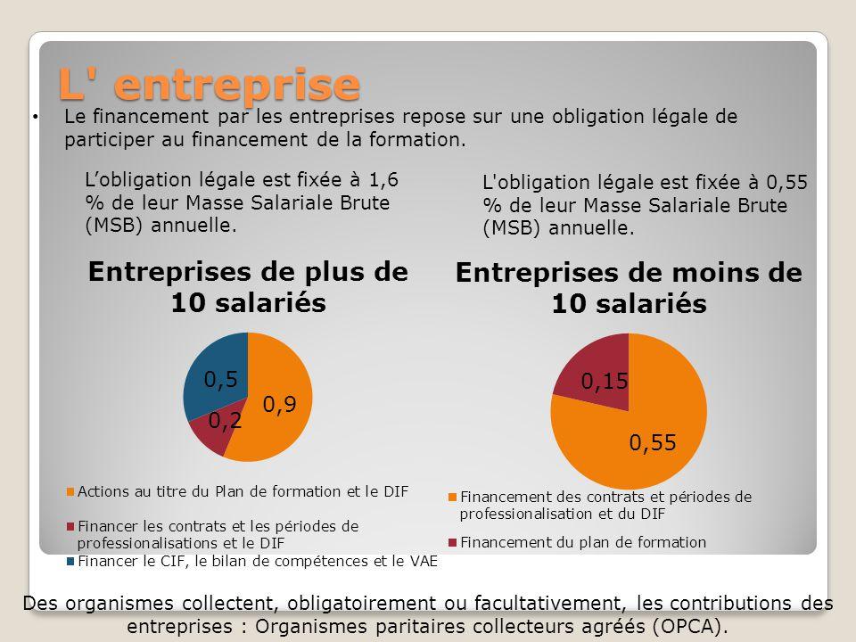 L' entreprise L'obligation légale est fixée à 1,6 % de leur Masse Salariale Brute (MSB) annuelle. L'obligation légale est fixée à 0,55 % de leur Masse