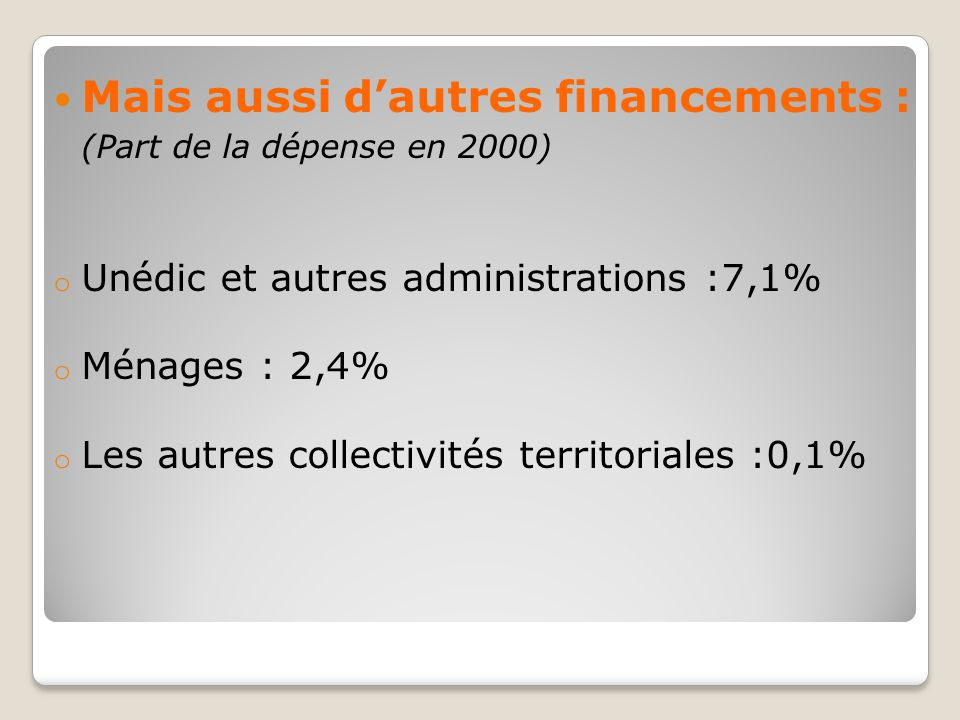 Mais aussi d'autres financements : (Part de la dépense en 2000) o Unédic et autres administrations :7,1% o Ménages : 2,4% o Les autres collectivités t