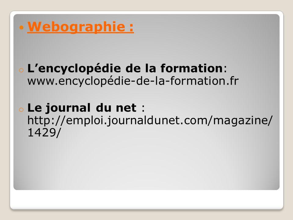 Webographie : o L'encyclopédie de la formation: www.encyclopédie-de-la-formation.fr o Le journal du net : http://emploi.journaldunet.com/magazine/ 142