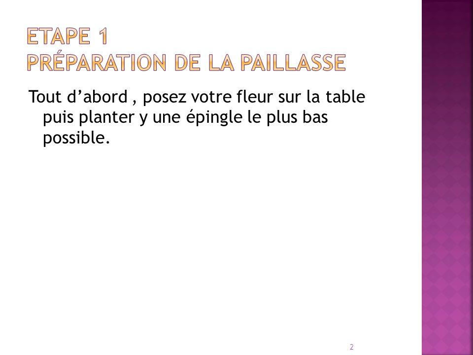 Tout d'abord, posez votre fleur sur la table puis planter y une épingle le plus bas possible. 2