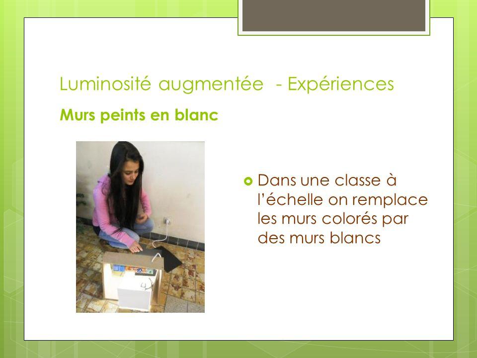 Luminosité augmentée - Expériences Murs peints en blanc  Dans une classe à l'échelle on remplace les murs colorés par des murs blancs