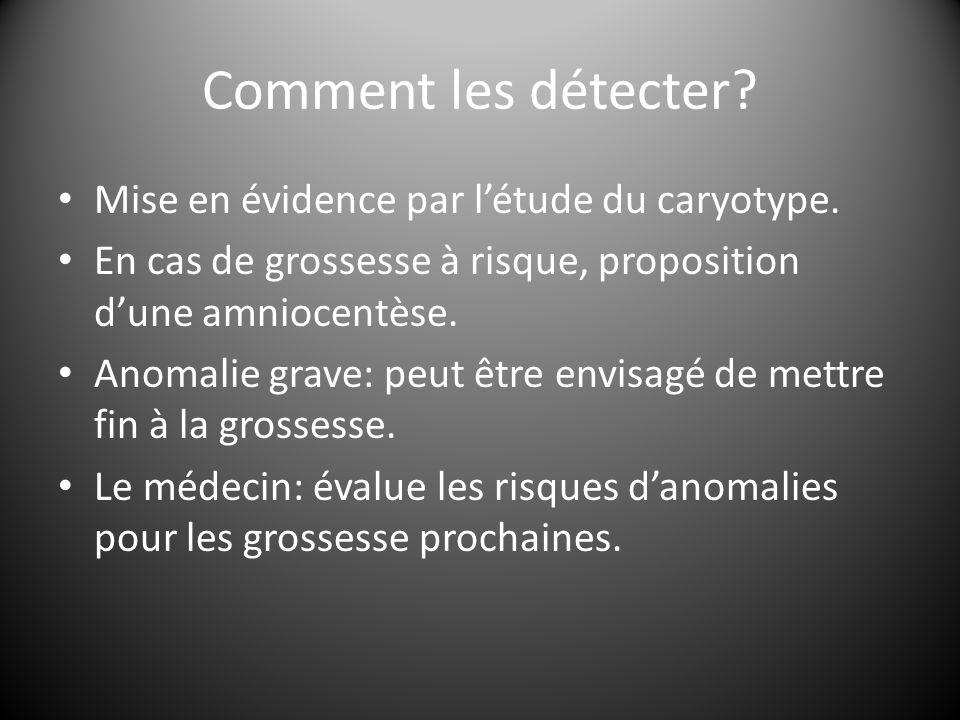 Comment les détecter? Mise en évidence par l'étude du caryotype. En cas de grossesse à risque, proposition d'une amniocentèse. Anomalie grave: peut êt