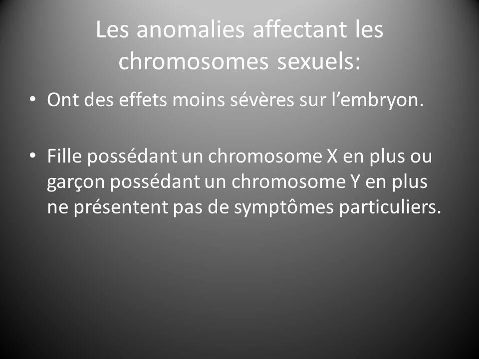 Les anomalies affectant les chromosomes sexuels: Ont des effets moins sévères sur l'embryon. Fille possédant un chromosome X en plus ou garçon posséda