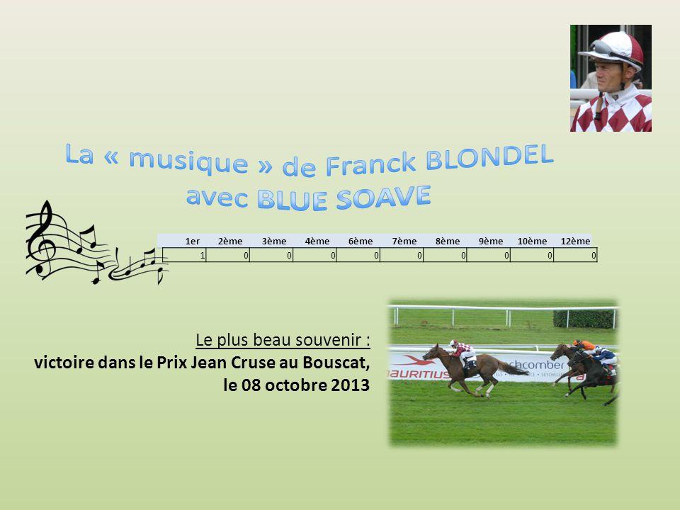 Le plus beau souvenir : victoire dans le Prix Moscato Show (Prix du bocage normand) à Clairefontaine, le 25 août 2012